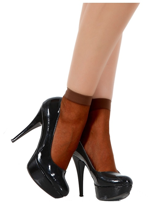 Pierre Cardin 5'Li Parlak Soket Çorap Kahve